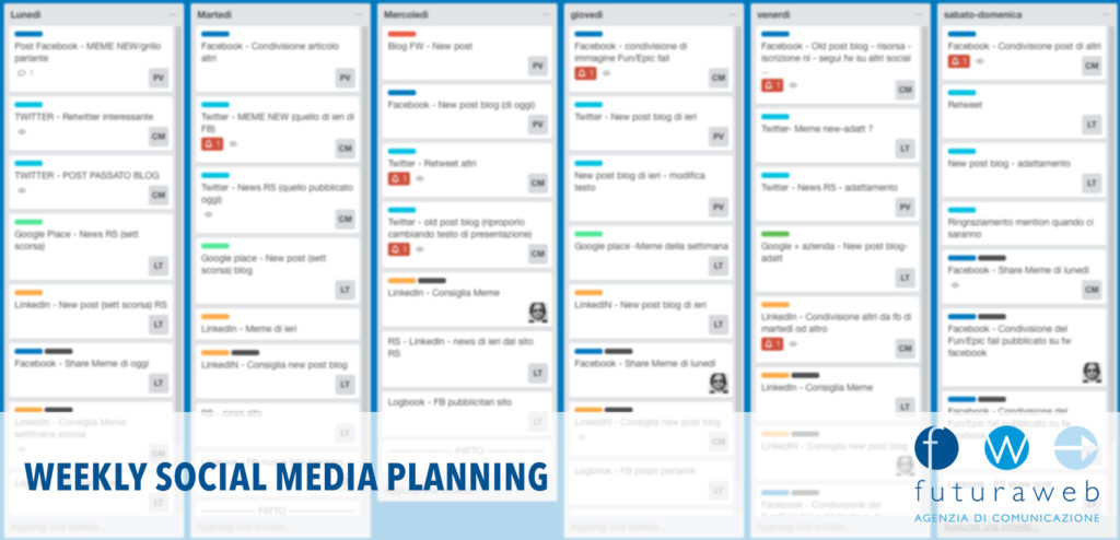 Social media calendario settimanale